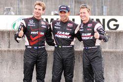 Pole winner Helio Castroneves, Team Penske, second place Ryan Briscoe, Team Penske, third place Will