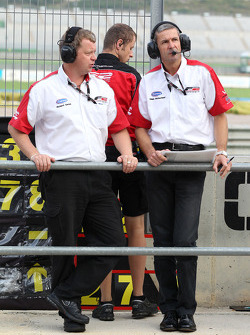 Richard Gates, F2 Team Manager, and Giles Butterfield Group Head of Operations MotorSport Vision