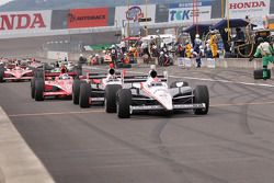 Ryan Briscoe, Team Penske leads the field on pitlane
