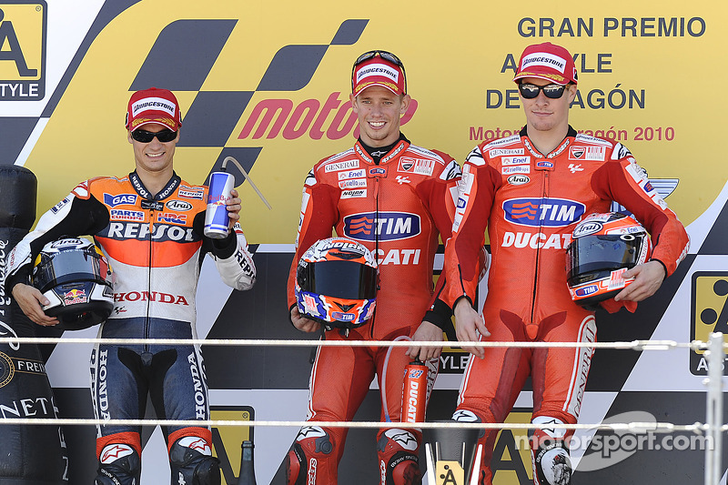 Podio: 1º Casey Stoner, 2º Dani Pedrosa, 3º Nicky Hayden