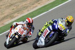 Valentino Rossi, Fiat Yamaha Team en Marco Simoncelli, San Carlo Honda Gresini