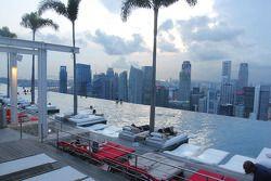 Aspectos de la ciudad: piscina en la azotea del Hotel Marina Bay