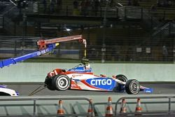 The remains of Milka Duno's car after contact with the wall