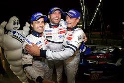 Race winners Pedro Lamy, Franck Montagny and Stéphane Sarrazin celebrate