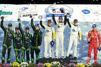 LMGT2 podium: class winners Oliver Gavin, Jan Magnussen and Emmanuel Collard, second place Scott Sharp, Johannes van Overbeek, Dominik Farnbacher and Ed Brown, third place Gianmaria Bruni