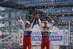 Podium, Sébastien Loeb en Daniel Elena, Citroën C4, Citroën Total World Rally Team