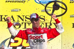 Victory lane: race winner Joey Logano celebrates