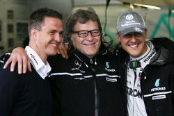 Ralf Schumacher, Norbert Haug et Michael Schumacher, Mercedes GP