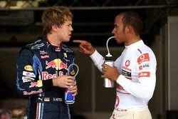 poleman Sebastian Vettel, Red Bull Racing, 3e Lewis Hamilton, McLaren Mercedes
