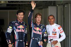 poleman Sebastian Vettel, Red Bull Racing, 2e Mark Webber, Red Bull Racing, 3e Lewis Hamilton, McLaren Mercedes