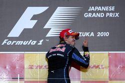 Podio: Sebastian Vettel, Red Bull Racing ganador de la carrera