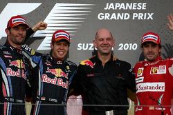 Podium: race winner Sebastian Vettel, Red Bull Racing, second place Mark Webber, third place Fernando Alonso, Scuderia Ferrari, with Red Bull Racing Adrian Newey, Red Bull Racing, Technical Operations Director