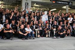 Race winner Sebastian Vettel, Red Bull Racing celebrates with his team