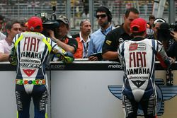 Race winner Valentino Rossi, Fiat Yamaha Team and 2010 MotoGP champion Jorge Lorenzo, Fiat Yamaha Team