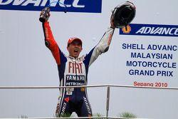 Podium: 2010 MotoGP champion Jorge Lorenzo, Fiat Yamaha Team celebrates