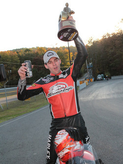Andrew Hines celebrates after taking the win
