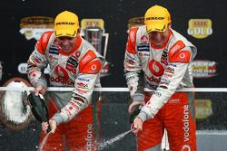 Craig Lowndes and Mark Skaife celebrate an historic Bathurst win for TeamVodafone