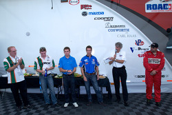 Team USA Scholarship persconferentie: Derek Daly, Conor Daly, Dane Cameron en Tony Ave