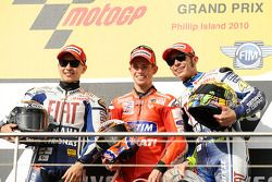 Podium: race winner Casey Stoner, Ducati Marlboro Team, second place Jorge Lorenzo, Fiat Yamaha Team