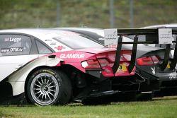 La voiture endommagée de Katherine Legge, Audi Sport Team Rosberg Audi A4 DTM