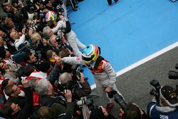 Race winner Paul di Resta, Team HWA AMG Mercedes, third place Mike Rockenfeller, Audi Sport Team Pho