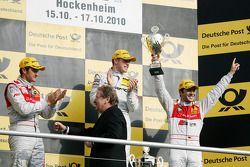 Podium: race winner Paul di Resta, Team HWA AMG Mercedes C-Klasse, second place Timo Scheider, Audi