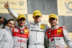 Podium: race winner Paul di Resta, Team HWA AMG Mercedes C-Klasse, second place Timo Scheider, Audi Sport Team Abt Audi A4 DTM, third place Mike Rockenfeller, Audi Sport Team Phoenix Audi A4 DTM
