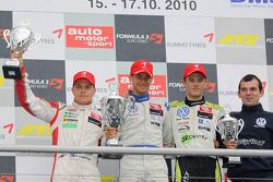 Podium: series champion and race winner Edoardo Mortara, Signature Dallara F308 Volkswagen, second place Valtteri Bottas, ART Grand Prix Dallara F308 Mercedes, third place Marco Wittmann, Signature Dallara F308 Volkswagen