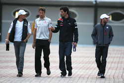Nico Rosberg, Mercedes GP, Jenson Button, McLaren Mercedes ve Mark Webber, Red Bull Racing