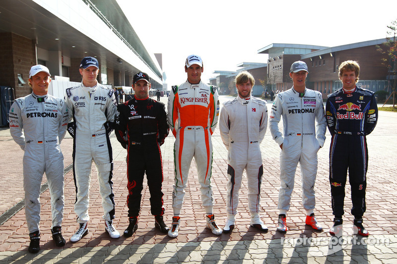 Nico Rosberg, Mercedes GP con Nico Hulkenberg, Williams F1 Team, Timo Glock, Virgin Racing, Adrian Sutil, Force India F1 Team, Nick Heidfeld, piloto de prueba Mercedes GP, Michael Schumacher, Mercedes GP y Sebastian Vettel, Red Bull Racing