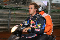 Sebastian Vettel, Red Bull Racing rides back to pit stop after his motor blew