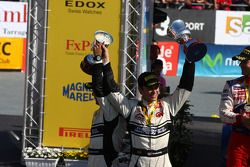 Podium: second place Petter Solberg and Chris Patterson, Citroën C4 WRC, Petter Solberg Rallying