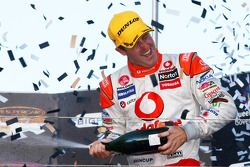 Jamie Whincup celebrates victory for TeamVodafone after a dramatic race two of the Gold Coast 600
