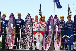 Podium: Shane van Gisbergen, John McIntyre (SP Tools Racing), Jamie Whincup, Steve Owen (TeamVodafon