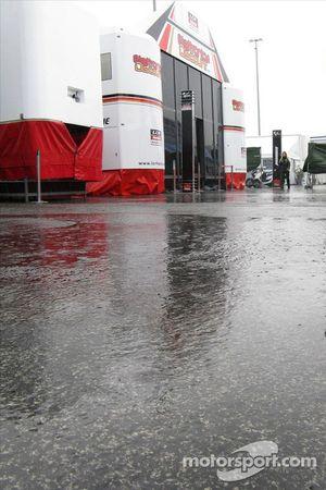 Heavy rain over the Estoril paddock