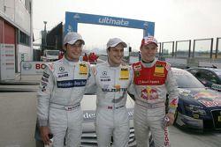 Pole winner Gary Paffett, Team HWA AMG Mercedes C-Klasse , with second place Bruno Spengler, Team HWA AMG Mercedes C-Klasse and third place Mattias Ekström, Audi Sport Team Abt Audi A4 DTM