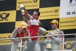 Podium: race winner Timo Scheider, Audi Sport Team Abt Audi A4 DTM, third place Bruno Spengler, Team HWA AMG Mercedes C-Klasse