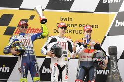 Podio: ganador de la carrera Jorge Lorenzo, Fiat Yamaha Team, segundo lugar Valentino Rossi, Fiat Ya