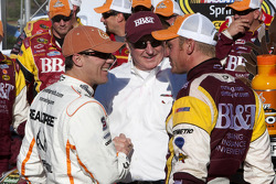 Victory lane: race winner Clint Bowyer, Richard Childress Racing Chevrolet is congratulated by Kevin Harvick, Richard Childress Racing Chevrolet and Richard Childress