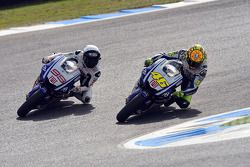 Jorge Lorenzo, Fiat Yamaha Team passes Valentino Rossi, Fiat Yamaha Team for the lead