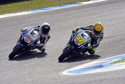 Jorge Lorenzo, Fiat Yamaha Team passes Valentino Rossi, Fiat Yamaha Team for the lead