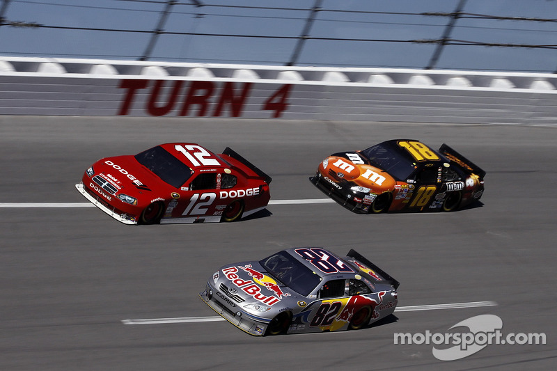 Scott Speed, Red Bull Racing Team Toyota, Brad Keselowski, Penske Racing Dodge, Kyle Busch, Joe Gibbs Racing Toyota