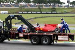The car of Felipe Massa, Scuderia Ferrari is returned to the pits