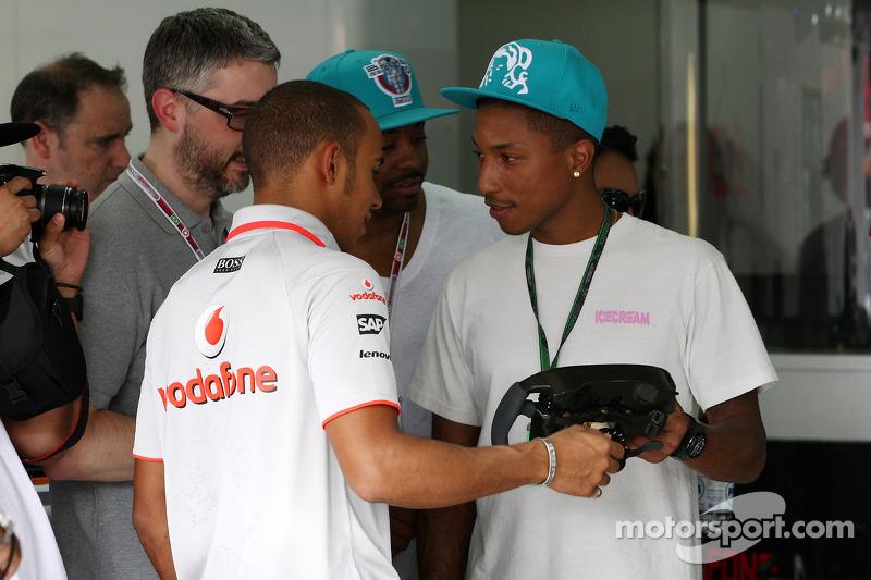 Lewis Hamilton, McLaren Mercedes and Pharrell Williams, Musician