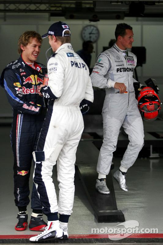 Sebastian Vettel, Red Bull Racing, polezitter Nico Hulkenberg, Williams F1 Team en Michael Schumacher, Mercedes GP