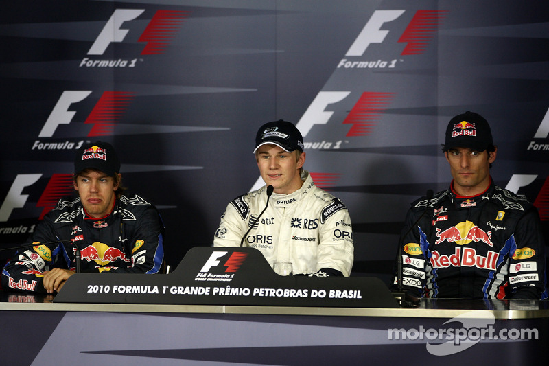 Прес-конференція: володар поулу Ніко Хюлькенберг, Williams F1 Team, друге місце Себастьян Феттель, Red Bull Racing та третє місце Марк Веббер, Red Bull Racing