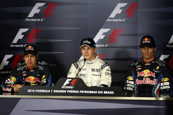 Press conference: pole winner Nico Hulkenberg, Williams F1 Team, with second place Sebastian Vettel, Red Bull Racing and third place Mark Webber, Red Bull Racing