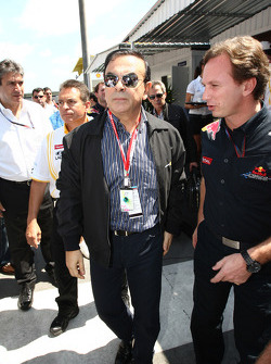 Carlos Ghosn Renault President with Christian Horner, Red Bull Racing, Sporting Director