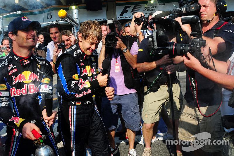 Red Bull Racing team celebration: race winner Sebastian Vettel, Red Bull Racing, second place Mark Webber, Red Bull Racing