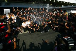 Red Bull Racing team celebration: race winner Sebastian Vettel, Red Bull Racing, second place Mark W